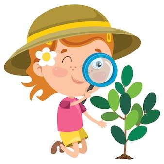 Un bambino che usa la lente d'ingrandimento