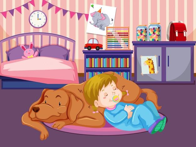 Un bambino dorme con il cane