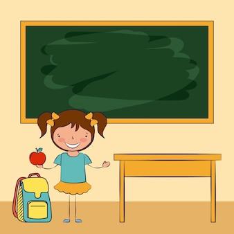Un bambino in una classe con illustrazione di elementi di scuola