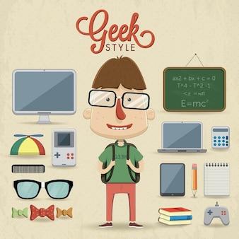 Un bambino va a scuola con fantastici accessori