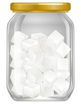 Un barattolo di zucchero cubo