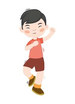 Un bel ragazzo che balla e sembra felice