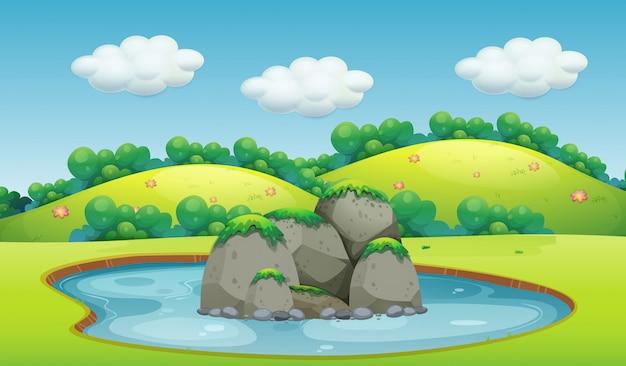 Un bellissimo paesaggio lacustre