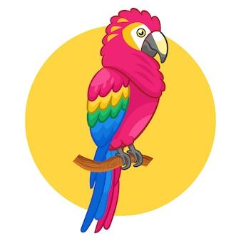 Un bellissimo uccello carino scarlet macaw.