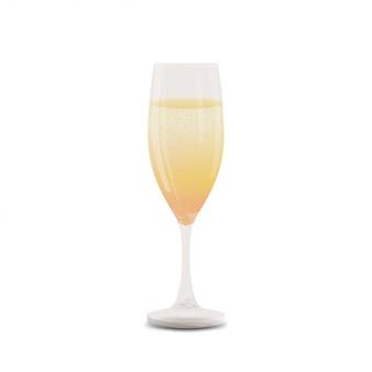 Un bicchiere di champagne isolato su bianco
