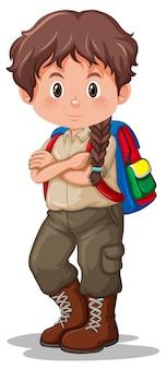 Un boy scout castano