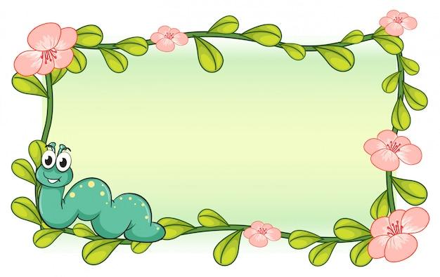 Un bruco e una cornice di piante floreali