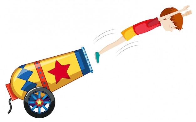 Un cannone colorato su sfondo bianco