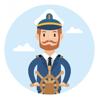 Un capitano della nave dietro la ruota isolata su fondo bianco