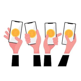 Un cartone animato che mostra le mani di funzionalità di transazione di denaro online tenendo il telefono con lo schermo di denaro