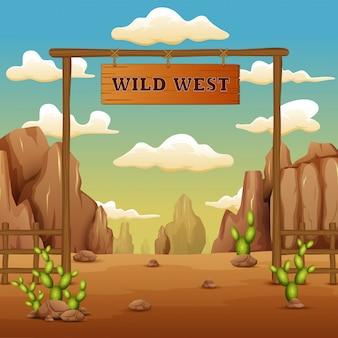 Un cartone animato di paesaggio cancello cancello nel selvaggio west
