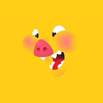 Un cartone animato sfondo giallo maiale