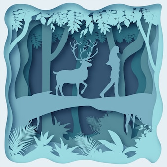 Un cervo segue una donna, disegno di origami di arte di carta 3d