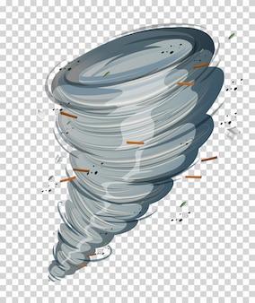 Un ciclone su sfondo trasparente