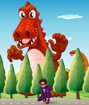 Un coccodrillo gigante spaventoso e un supereroe