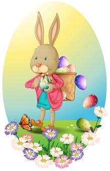 Un coniglio con una borsa di uova di pasqua