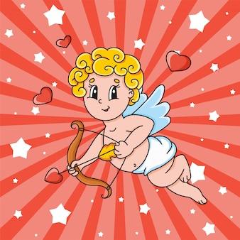 Un cupido con le ali vola e tiene in mano un arco e una freccia. personaggio dei cartoni animati carino. san valentino.