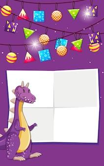 Un dinosauro su sfondo di compleanno con copyspace
