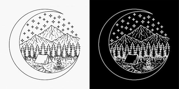 Un disegno a mano della fusione della luna e una tenda su una montagna
