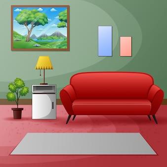 Un divano rosso con la pittura in una stanza