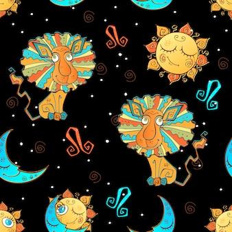 Un divertente modello senza cuciture per bambini. segno zodiacale leone in nero