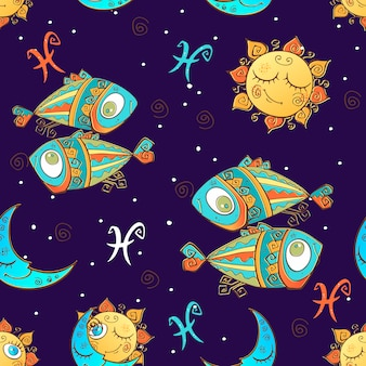 Un divertente modello senza cuciture per bambini. segno zodiacale pesci.