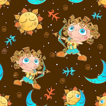 Un divertente modello senza cuciture per bambini. segno zodiacale sagittario.