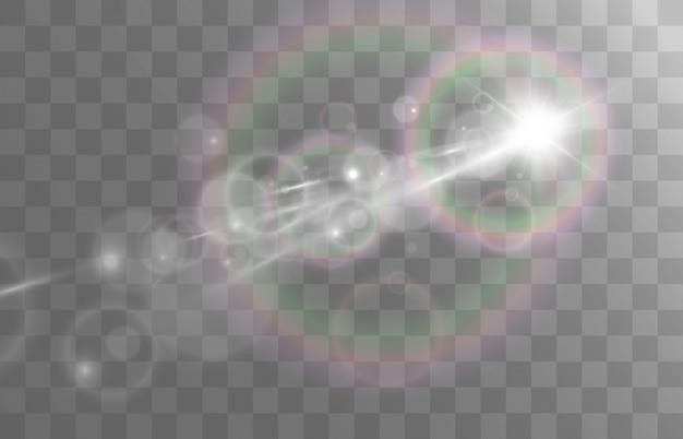 Un effetto di luce su uno sfondo trasparente. bellissima stella luminosa.