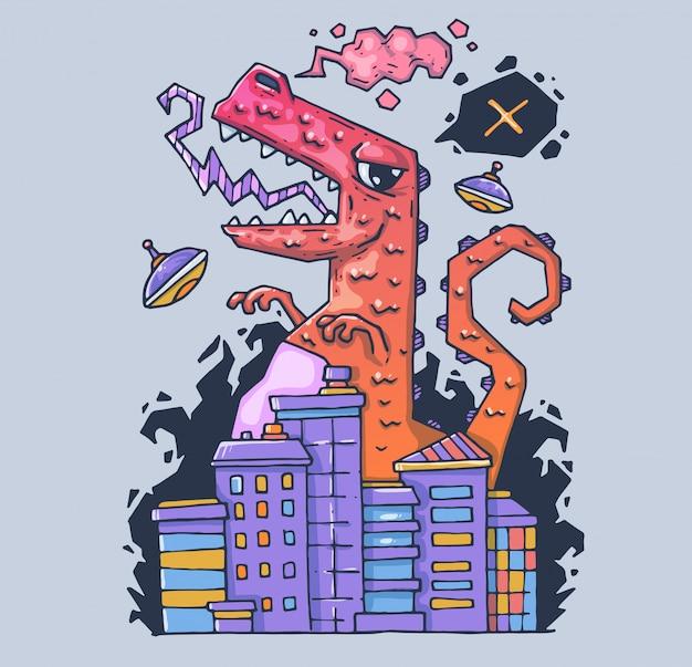 Un enorme mostro distrugge la città. il dinosauro è il distruttore. illustrazione di cartone animato personaggio in stile grafico moderno.