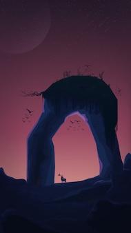 Un'enorme roccia a forma di arco con erba in cima, uccelli, tramonto, cielo stellato.