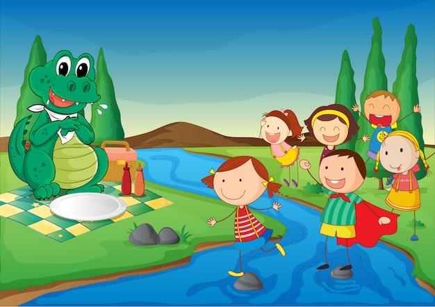 Un fiume, un dinosauro e bambini