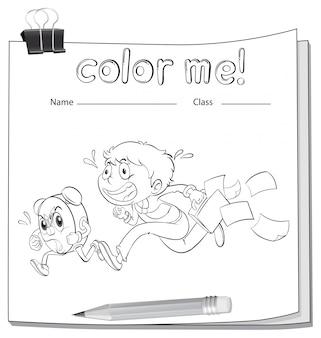 Un foglio da colorare con un ragazzo