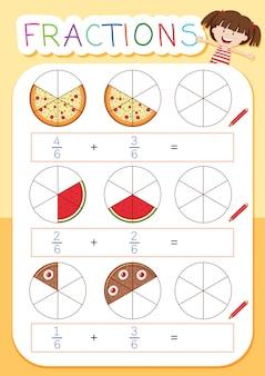 Un foglio di lavoro per la frazione matematica