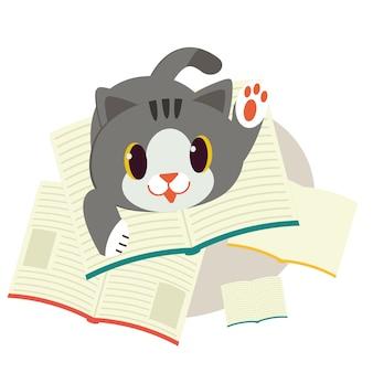 Un gatto con un libro