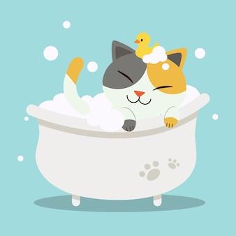Un gatto sveglio del fumetto del carattere che si trova nella vasca da bagno