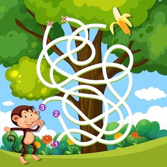 Un gioco di labirinto nella giungla delle scimmie