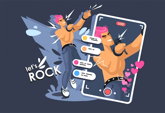 Un giovane canta sul palco, una rock star. musicista rock in una posa dinamica. flusso online nei social network
