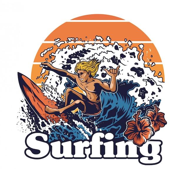 Un giovane pazzo surfista estremo cavalcando il grande tsunami delle onde dell'oceano