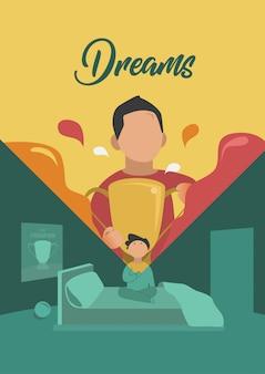 Un giovane ragazzo sogna per raggiungere il vettore dell'illustrazione