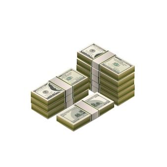 Un grande mucchio di cento dollari di banconote, coppia dettagliata nella vista isometrica su bianco