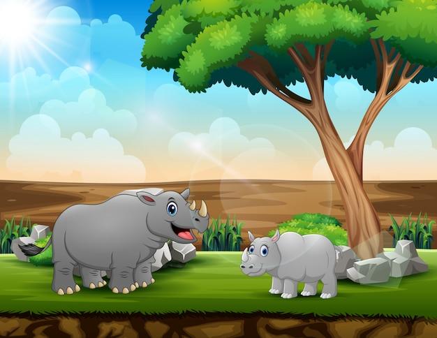 Un grande rinoceronte con il suo cucciolo nel campo