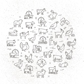 Un grande set di icone vettoriali circolare di animali rurali in uno stile lineare