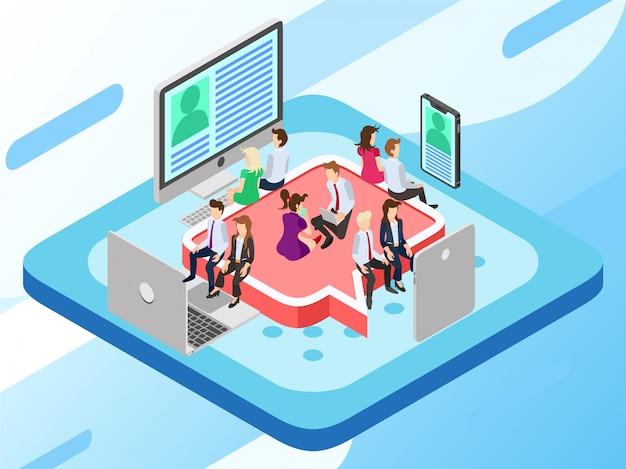 Un gruppo aziendale seduto su un sedile e guardando una notizia virale
