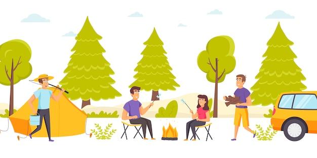 Un gruppo di amici trascorre del tempo nel campeggio nella foresta o in campeggio