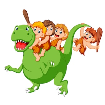 Un gruppo di antichi bambini che giocano con il corpo del tirannosauro rex e seduti su di esso