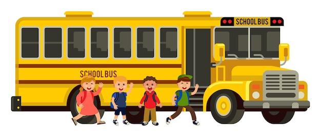 Un gruppo di bambini sale sullo stile piatto degli autobus scolastici