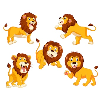 Un gruppo di cartoni animati di leoni