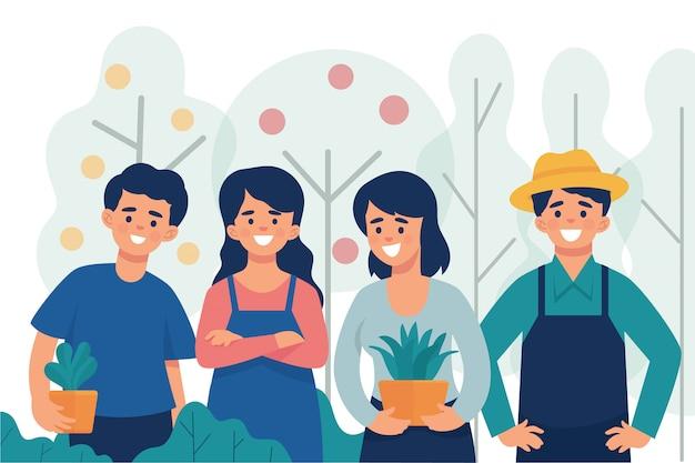 Un gruppo di giovani agricoltori che sono orgogliosi di lavorare sull'agricoltura