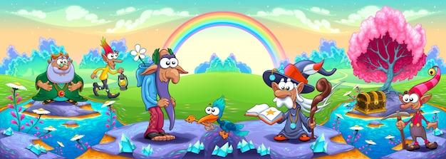 Un gruppo di nani in un paesaggio dei sogni illustrazione di fantasia vettoriale