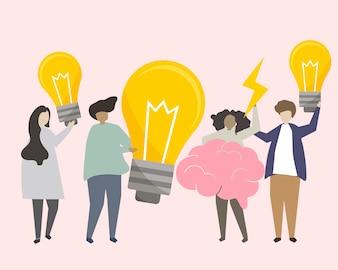 Un gruppo di persone che brainstorming l'illustrazione di idee